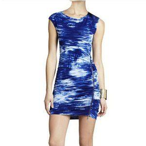 BCBGMAXAZRIA Blue White Dell Bodycon Zipper Dress